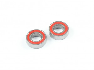 5x10x3mm High Grade Ball Bearings, 2 pcs, Red Rubber Seal