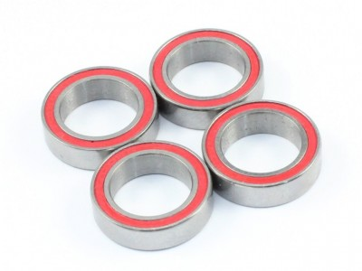 10x15x4mm Competition Grade Ceramic Ball Bearing, 4 pcs, Red Rubber Seal (BB-20001)
