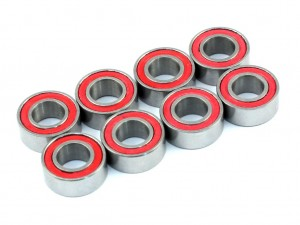 5x10x4mm Competition Grade Ceramic Ball Bearing, 8 pcs, Red Rubber Seal