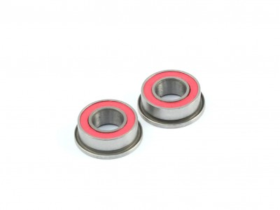 4x8x3mm Competition Grade Ceramic Ball Bearing, Flanged, 2 pcs, Red Rubber Seal