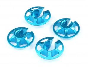 Aluminum Lightweight Spring Retainers for Tamiya, 4 pcs, Blue, 1mm Lower (TA-10001)