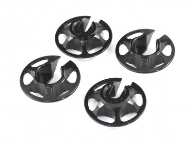Aluminum Lightweight Spring Retainers for Tamiya, 4 pcs, Black, 1mm Lower (TA-10002)