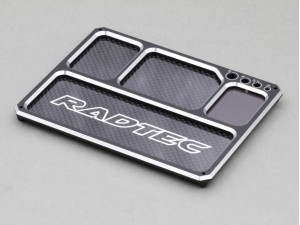 Radtec Aluminum/Graphite Lightweight Parts Tray with magnet, Black/Silver (AC-20009)